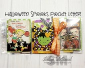 Halloween Spooks POCKET LETTER- Halloween Themed Happy Mail, Planner Supplies, Pen Pal Kit, Scrapbooking, Papercrafting, Cardmaking