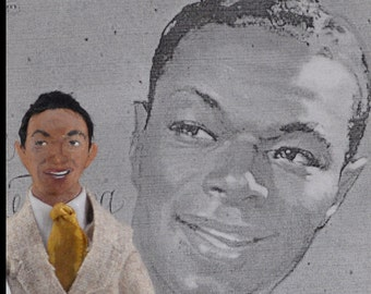 Nat King Cole-  Jazz Singer-  Miniature Art Doll-  Collectible Character- Big Band Music