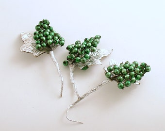 Vintage Christmas Corsage Picks Glass Beads Silver Leaves