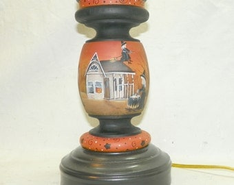 Halloween Table Lamp  with Hand Painted Shade Witch Flying Witch One On A Kind Pumpkin Jack O LAntern Black Cat Hay Ride