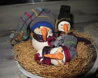 Snowman's Nativity Gourds