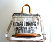 Lumber apron, vtg ticking canvas crossbody, satchel, tote bag - Rootstown Kent Ohio - eco vintage fabrics