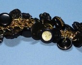 Black & Gold OOAK acrylic handcrafted sewing button charm bracelet