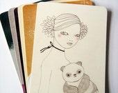 Panda Girl Postcard