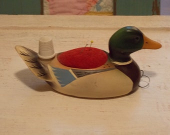 Vintage Pincushion Painted Wooden Duck Thimble Tape Measure Sewing Accessory
