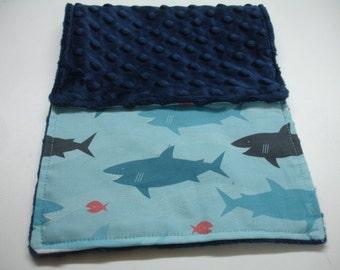 Sharks Baby Burp Cloth 8 x 17 READY TO SHIP