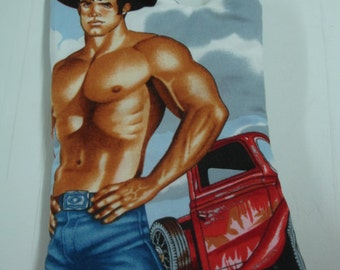 Hot Hunk Hot Pad Oven Mitt Cowboy with Black Hat and Truck READY TO SHIP