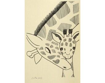 Giraffe Print Giraffe Nursery Art Illustration Print Black & White Nursery Wall Decor Safari Animal Nursery Wall Art Giraffe Ink Drawing
