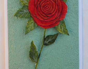 Red Rose Greeting Card Hand Painted Red Rose Card Valentine Card