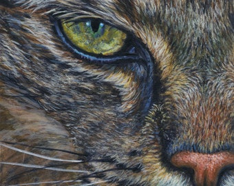 Original Acrylic ACEO Painting of a Tabby Cat