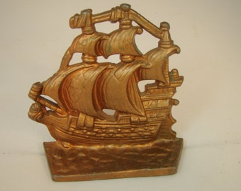 Vintage Bookend Ship Bookend Nautical Bookend Metal Bookend Copper Colored Bookend Library Decor Single Bookend  Office Decor