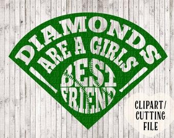 diamonds are a girls best friend svg, softball svg, softball cut file, softball diamond svg, svg designs, silhouette files, cricut files