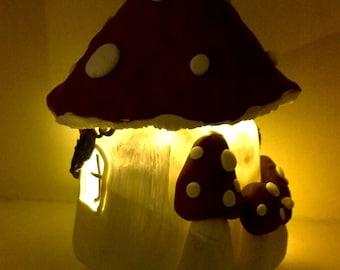 Toadstool Tea Light Fairy House