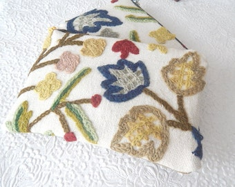 Ivory multi crewel embroidery pouches, wool floral clutch, bridal gifts,  makeup bag, cosmetic pouch, purse organizer