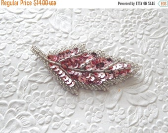 CLEARANCE One pink silver  hairpin, embellished hairpin, beaded hairpin, leafy hairpin ,  hair accessory, womens accessory