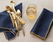 Navy Blue Linen Napkins with a Gold Edge, set of four by Dot and Army