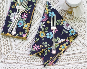 Navy Blue Floral with Mustard Edge- set of four
