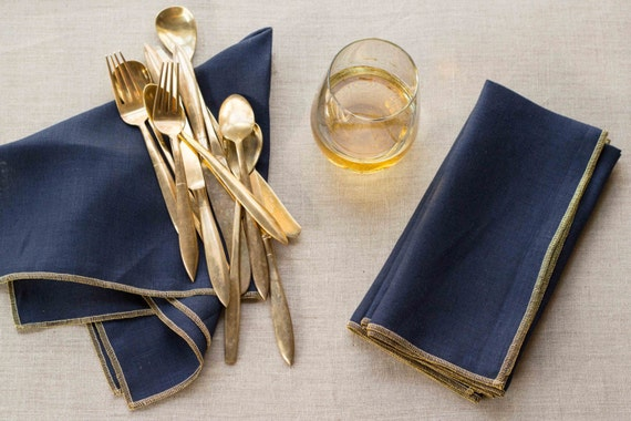 Navy Blue Linen Blend Napkins with a Gold Edge, set of four by Dot and Army