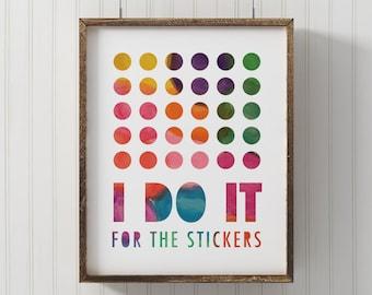 Kids wall art, PRINTABLE, playroom art, toddler print, stickers, digital print, typographic, kids room, watercolor print, bathroom print