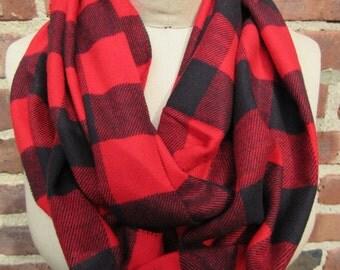 buffalo Check infinity scarf red black Plaid Flannel lumberjack Boho chic Cowl Loop Warm winter Muffler Checkered Neck wrap Rustic Accessory