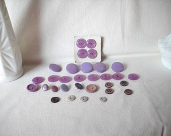 Vintage Buttons Purple Buttons Vintage Purple Plastic Buttons
