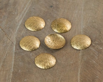 No Hole Raw Brass Textured Circle Pendants 18mm (6) mtl504A