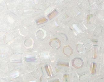 Crystal AB Miyuki Hex Cut Seed Bead 8/0 6.8gm Tube DBLC-0051-TB