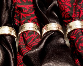 Silver coin ring napkin ring set morgan dollar napkin rings
