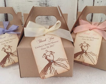 Bridal Shower Favor Boxes Engagement Favors Wedding Shower Favor Boxes Wedding Gown Boxes Tags, Ribbon Set of 10