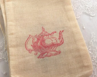 Tea Party Bags Vintage Teapot - Pink Ink Tea Party Muslin Bags 4x6 OR 5x7