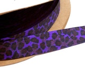 Purple Ribbon, Purple Leopard Print Grosgrain Ribbon 7/8 inch wide x 10 yards, Offray Delphinium Wildcat Ribbon