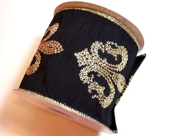 Black and Gold Sequin Fleur de Lis Wired Fabric Ribbon 4 inches wide x 10 yards, Full Bolt, Lion Brand Miramar Ribbon