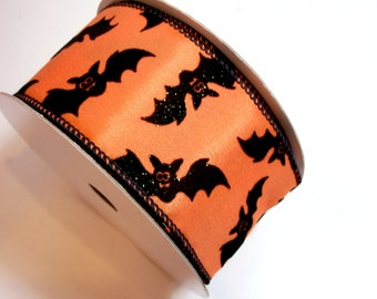 Halloween Ribbon, Glitter Flocked Wired Fabric Ribbon 2 1/2 inches wide x 20 yards, Full Bolt of Lion Brand Bat Time Ribbon