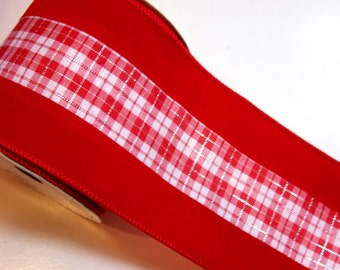 Red Ribbon, Offray Bell Ring Wired Fabric Ribbon 4 inches wide x 10 yards, Full Bolt of Red Plaid Ribbon