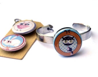 Cat Jewelry, Cat Bracelet, Stackable Bangle, Adjustable, Gift for Girl, Magnetic with 3 Interchangeable lids, Steel, Adorable Animal Art