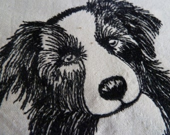 Border Collie Machine Embroidered Quilt Block