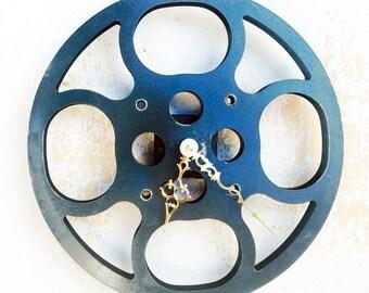 Clock, Movie Reel Clock, Wall Clock, 16mm Metal Movie Reel Clock, Recycled, Upcycled Gift Item #2