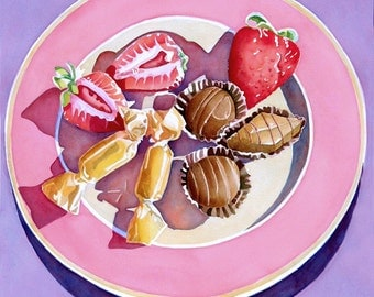 Candy On A Pink Plate Ready To Hang Mounted Art  Print Home Decor