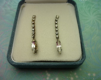 Vintage Sterling Silver Earrings - Clear Navette Drops