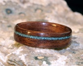 Dark Koa Wood Ring with Offset Blue Turquoise Stone Inlay (In Stock Size 9, 6mm Wide) // Wood Wedding Ring // Wooden (5th) Anniversary Ring
