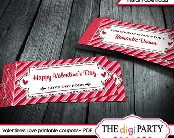 Valentines day gift printable coupons, love coupons, coupon book, editable pdf romantic DIY ideas for him, her / instant download