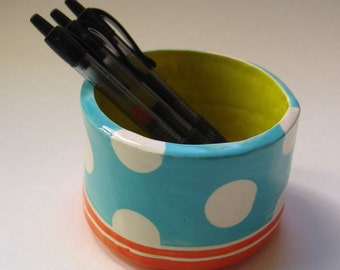 Colorful pottery Pencil Cup :) Turquoise, orange & chartreuse home decor, original ceramic dish kitchen office decor