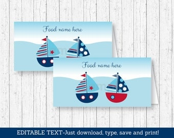 Sailboat Buffet Cards / Sailboat Baby Shower / Nautical Baby Shower / Food Labels / Place Cards / INSTANT DOWNLOAD Editable PDF A103