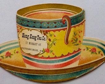Victorian Trade Card Die Cut Cup & Saucer Shape Hong Kong Tea Co. Pittsburgh Pa 1883
