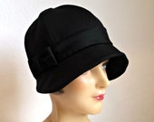 Black Wool Cloche with Bow - Women's 1920s Cloche Hat - Made To Order - 3 WEEKS FOR SHIPPING