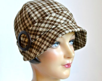 Wool Cloche Hat in Chestnut Brown Plaid - Women's Cloche Hat - Ready to Ship