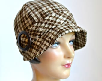 Wool Cloche Hat in Chestnut Brown Plaid - Women's Cloche Hat - Made to Order in Your Size