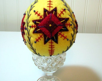 Hand Stitched Wool Easter Egg Decoration - Fiber Art - Home Decor - Easter Decor - Wool Felt Egg - Holiday Decor - Hand Stitched - Pysanky