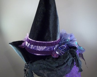 Witch Hat Made to Order Halloween Costume Accessory Cosplay Millinery Black Velvet Purple Sparkle