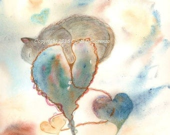 Watercolor Painting Cat Art, Cat Painting, Cat Watercolor, Heart Art, Heart painting, Print Of Original Watercolor Titled Rest My Heart